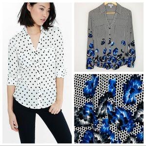 Express Portofino Blue Floral Black White Dot Top